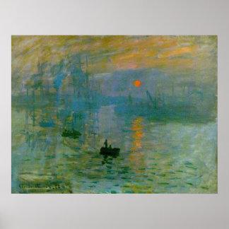 Impression, copie de toile de lever de soleil poster