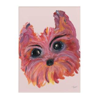 Impression En Acrylique Peinture d'art de bruit de Yorkie dans le rose et