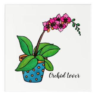 Impression En Acrylique Usine d'orchidée d'aquarelle dans le beau pot