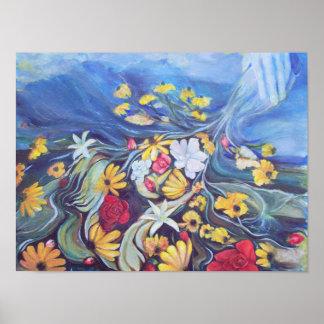 Impression florale abstraite petite poster