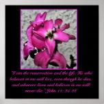 Impression florale rose de Pâques Poster