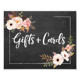 Impression Photo Cadeaux et signe floral rustique de mariage de