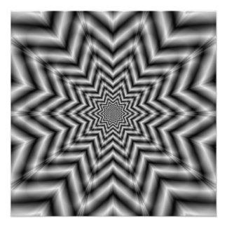 Impression Photo Étoile optiquement exaltante en noir et blanc