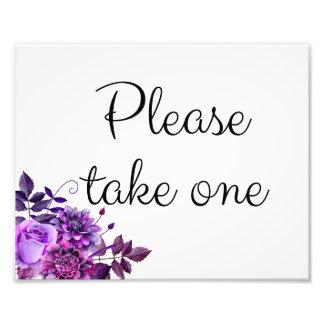 Impression Photo Pourpre floral de signe de mariage. Veuillez