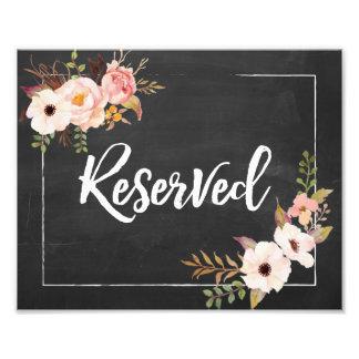 Impression Photo Signe floral rustique réservé de mariage de