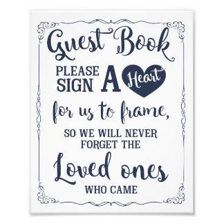 Impression Photo signez une marine de signe de mariage de livre