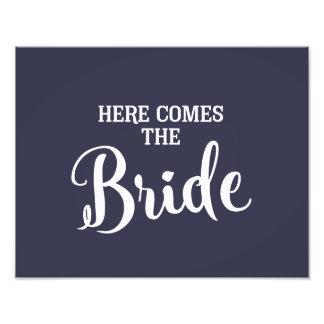 Impression Photo voici venir le bleu marine de signe de mariage de
