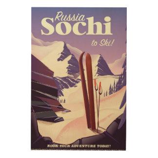 Impression Sur Bois Affiche de voyage de ski de Sotchi Russie