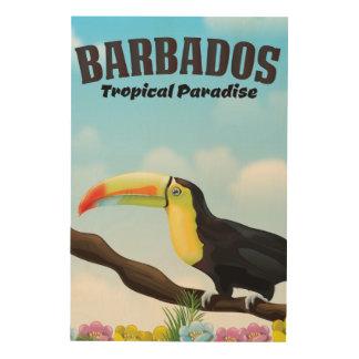 Impression Sur Bois Affiche tropicale de voyage de paradis des Barbade