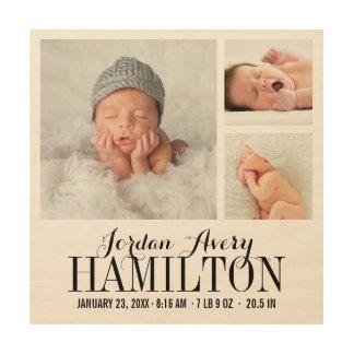 Impression Sur Bois Copie de collage de photo de bébé de monogramme