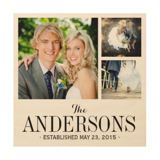 Impression Sur Bois Copie de collage de photo de mariage de monogramme