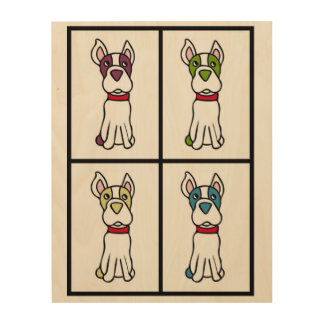 Impression Sur Bois Dessin de Boston Terrier