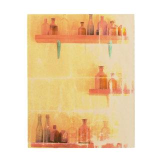 Impression Sur Bois Le CRU MET l'art en bouteille de mur en bois 8 x