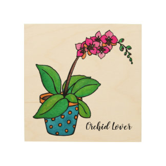 Impression Sur Bois Usine d'orchidée d'aquarelle dans le beau pot