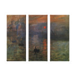 Impressionisme vintage, lever de soleil impression sur toile