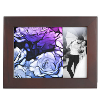 Impressionismus Shabby Chic-blaue lila Rose Erinnerungsdose