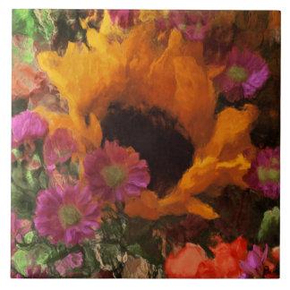 Impressionist-Blumenstrauß Große Quadratische Fliese