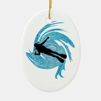 In das Blau Ovales Keramik Ornament