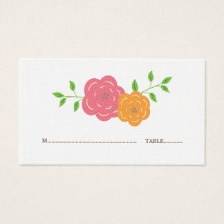 In den Blüten-roten orange BlumenPlatzkarten Visitenkarte