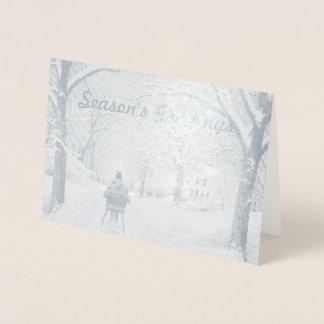 In der der Holz-die Gruß-Karte Jahreszeit Folienkarte