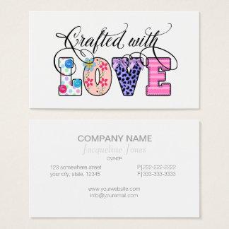 In Handarbeit gemacht mit Liebe-Schwarz-Skript Visitenkarte