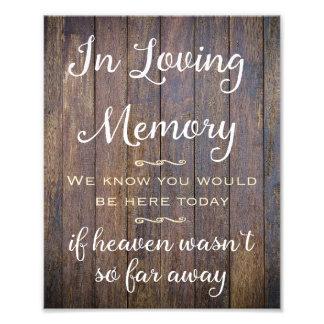 In liebevollem Gedächtnis-Zeichen Wedding Dekor, Fotodruck