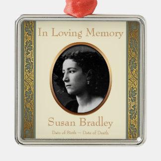 In liebevoller Gewohnheits-Foto-Denkmal-Verzierung Quadratisches Silberfarbenes Ornament