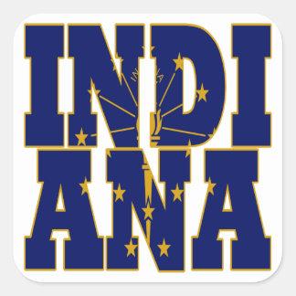 Indiana-Staatsflaggentext Quadratischer Aufkleber