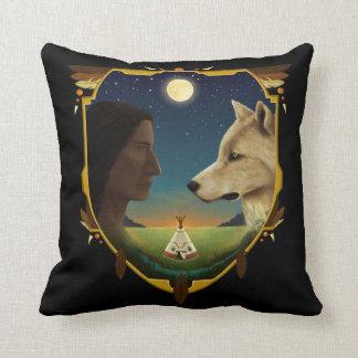 Indianer und Wolf- Penheka Kissen