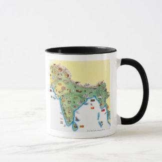 Indien, Karte mit dem Illustrationsdarstellen Tasse