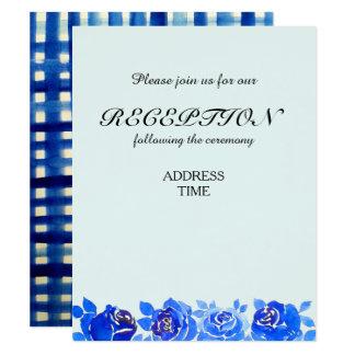 Indigo-Blau-BlumenEmpfangs-Einladungs-Karte 10,8 X 14 Cm Einladungskarte