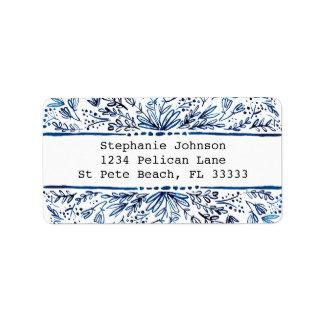 Indigo-Blau-BlumenRücksendeadresse-Aufkleber Adressaufkleber