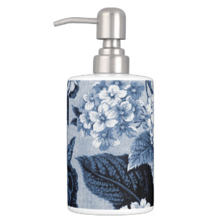 Indigo-Blau BlumenToile No.1 Badset