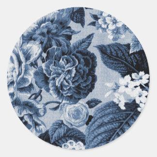 Indigo-Blau Vintages BlumenToile No.1 Runder Aufkleber