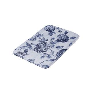 Indigo-Blau Vintages BlumenToile No.2 Badematte