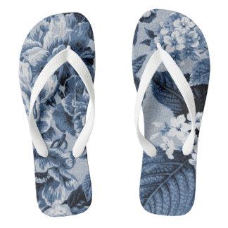 Indigo-Blau Vintages botanisches BlumenToile No.1 Flip Flops