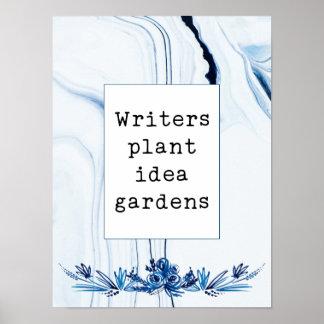 Indigo gemalte Verfasser-Pflanzen-Ideen-Gärten des Poster