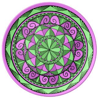 Indigo-Mandala Porzellanteller