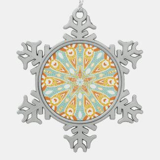 Indische Kaleidoskop-Kunst Schneeflocken Zinn-Ornament