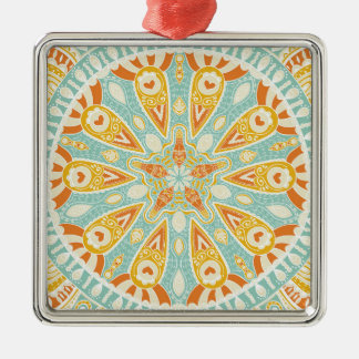 Indische Kaleidoskop-Kunst Silbernes Ornament