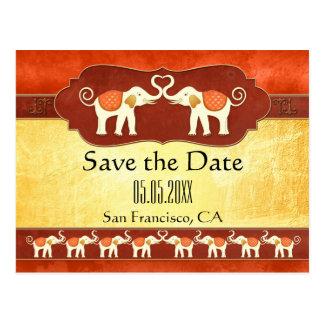 Indische weiße Elefant-Save the Date Postkarte