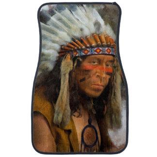 Indischer Leiter mit dem Feder-Kopfschmuck Autofußmatte