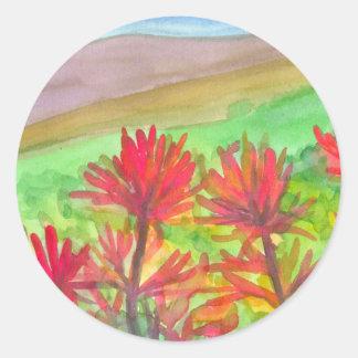 Indischer Malerpinselwatercolor-Wildblumen Runder Aufkleber
