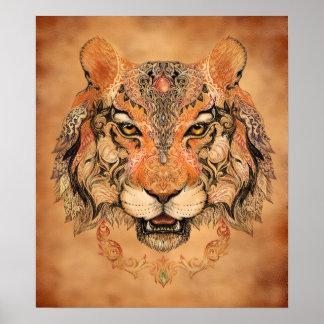 Indisches Tiger-Tätowierungs-Plakat Poster