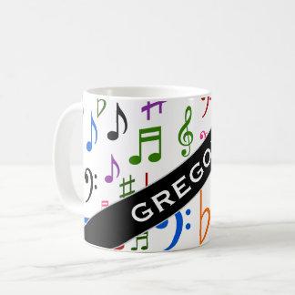 Individueller Name; Viel bunter Musiknoten und Kaffeetasse