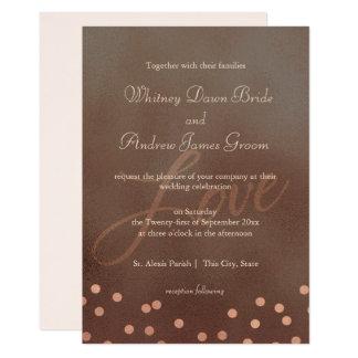 Industrielle Chic-Bronze-Rosen-Hochzeit Karte