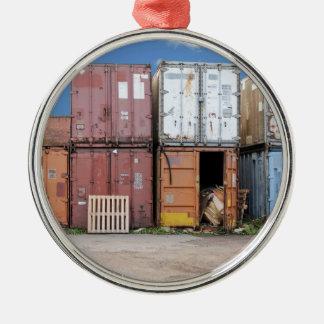 Industrieller Frachtbehälter für das Versenden Silbernes Ornament