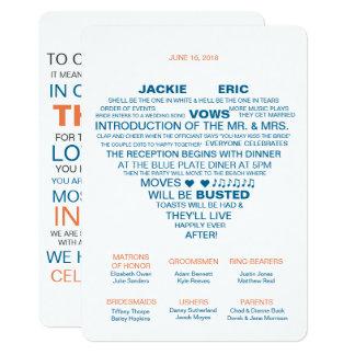 Informeller Hochzeits-Programm-Fan 12,7 X 17,8 Cm Einladungskarte