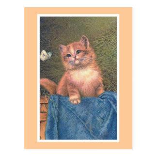 """""""Ingwer-Kätzchen und Schmetterling"""" Vintag Postkarte"""