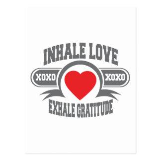 Inhalieren Sie Liebe, atmen Sie Dankbarkeit aus Postkarte
